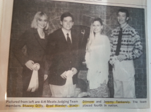Brad and Stacey at the 1995 National 4-H Meats Judging Contest