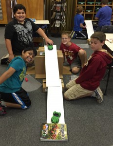 Students in Mrs. Peacocks 5th grade science class explored the Laws of Motion during 4-H National Science Day.