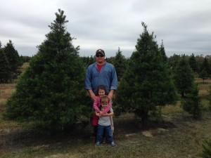 Whispering Pines Tree Farm with proprietor Mike Kelly and 2 children