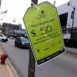This street tree in Chicago was given a price tag to raise awareness of its value. Photo credit: Eric Stevenson