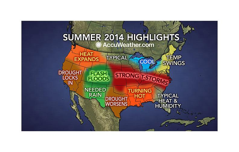 Expect typical heat and humidity east of the Apalachicola River with hotter temperatures west.  http://www.accuweather.com/en/weather-video/video-summer-2014-forecast-highlights-drought-severe-weather-increase/3520160310001