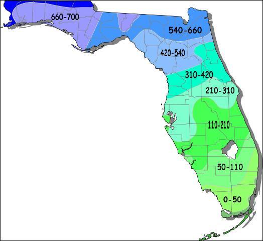 florida map and temperatures