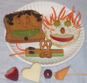 Variety of healthy snacks made into artwork