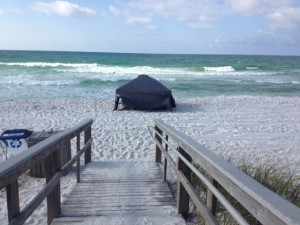 Tent set up on Pensacola beach to protect from the sun.  Photo: Rick O'Connor