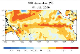 The red indicates warm water temperatures. Notice the warm temps in the eastern Pacific - not normal. Graphic: NOAA