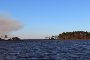 "From Eden Garden State Park you can look across the bayou to the point where the ICW leaves Choctawhatchee Bay and enters a manmade canal locals refer to as ""the ditch"". Notice the prescribed burn occurring across the bay."