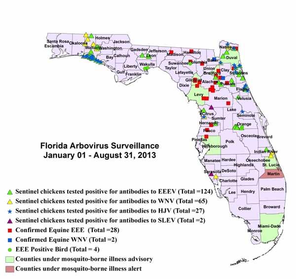 FloridaMosquitoAdvisoryMap Aug 2013