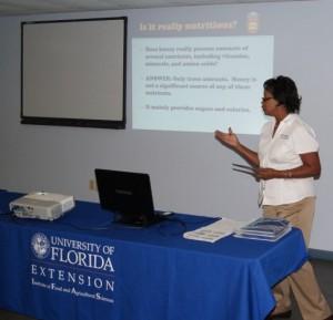 Dr. Marjorie Moore Explains the benefits of honey - Image Credit Matthew Orwat UF IFAS