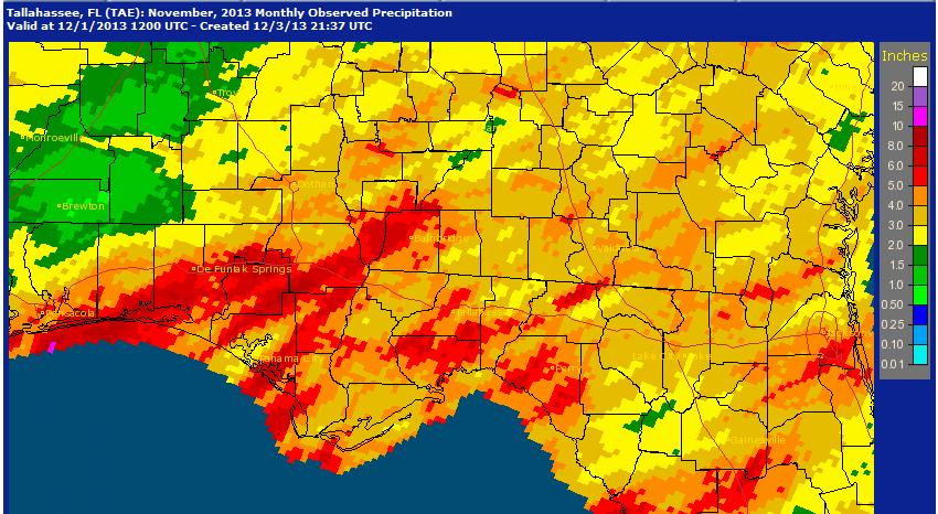 National Weather Service precipitation estimates for November 2013.