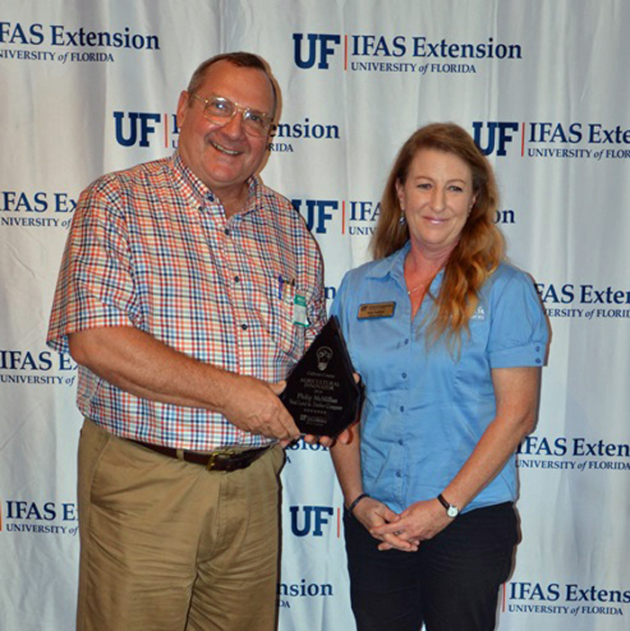 Phillip McMillan was recognized as the Calhoun County Agricultural Innovator by Judy Ludlow, Calhoun County Extension.