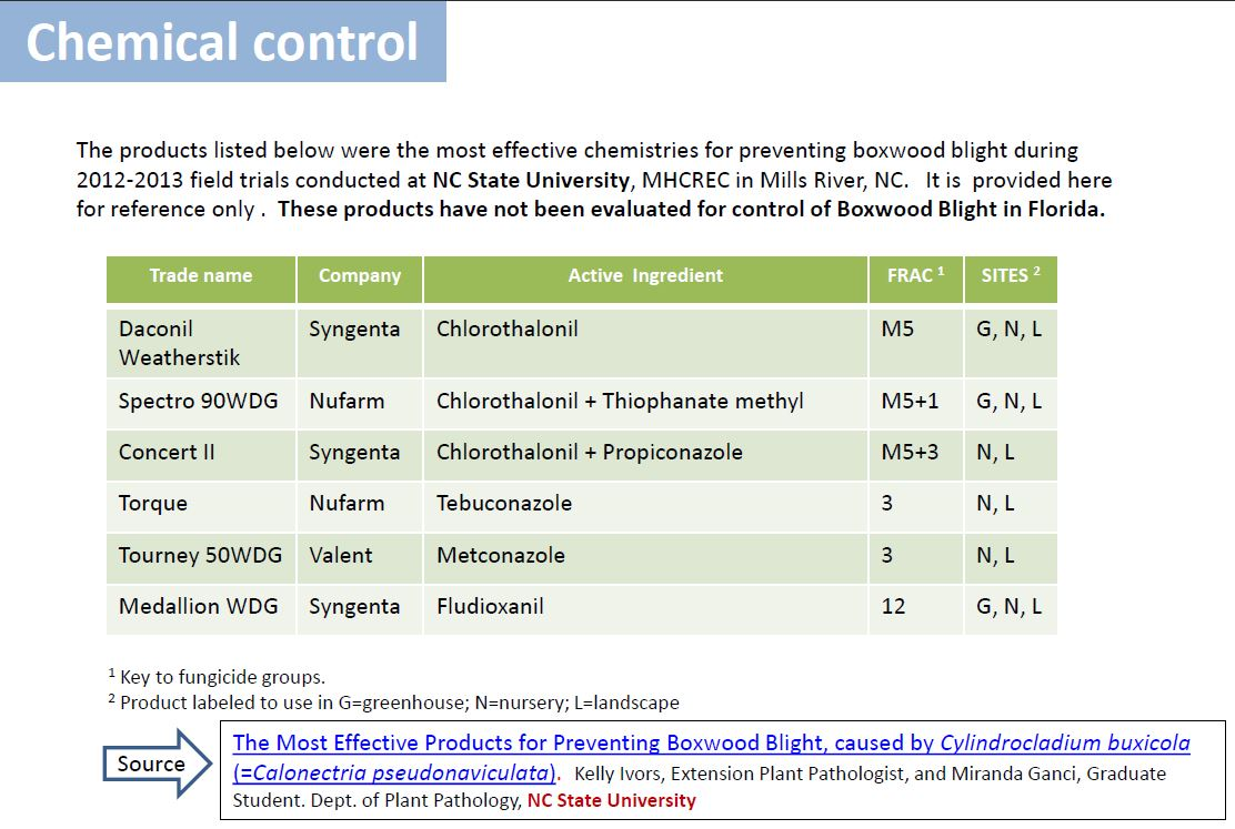 Boxwood blight chemical control