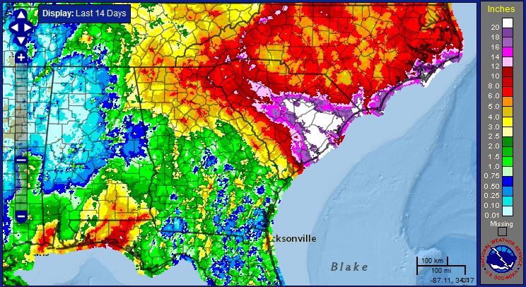 National Weather Service estimates of rainfall from September 23 through October 7.