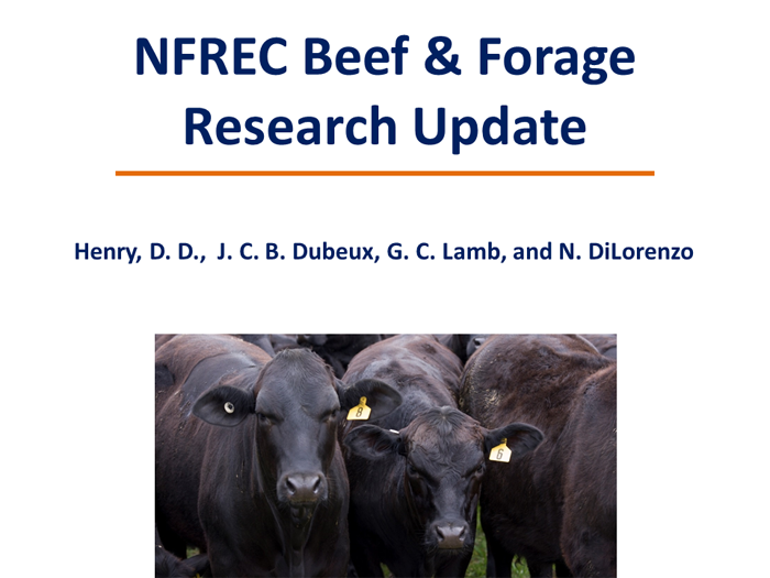 NFREC Beef & Forage Research Report 2016