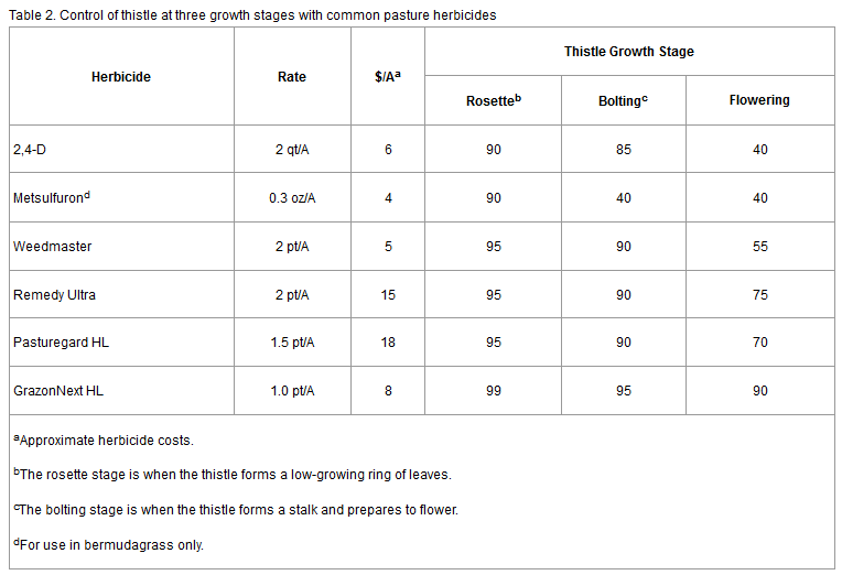 Source: Thistle Control in Pastures