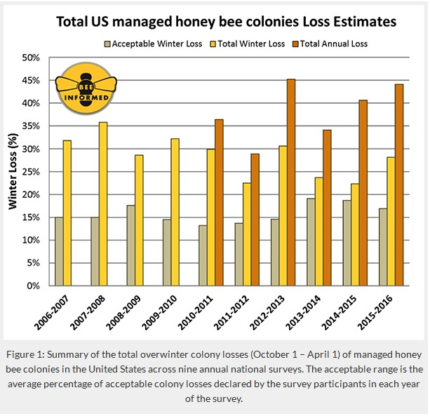 Figure 1: Summary of the total overwinter colony losses (October 1 – April 1) of managed honey bee colonies in the United States across nine annual national surveys. The acceptable range is the average percentage of acceptable colony losses declared by the survey participants in each of the survey. https://beeinformed.org/2016/05/10/nations-beekeepers-lost-44-percent-of-bees-in-2015-16/
