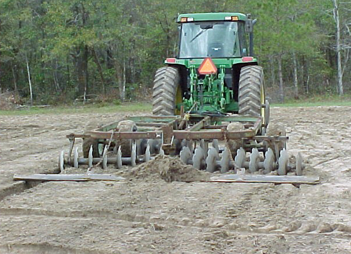 Preparing land for cool-season forage planting in October.