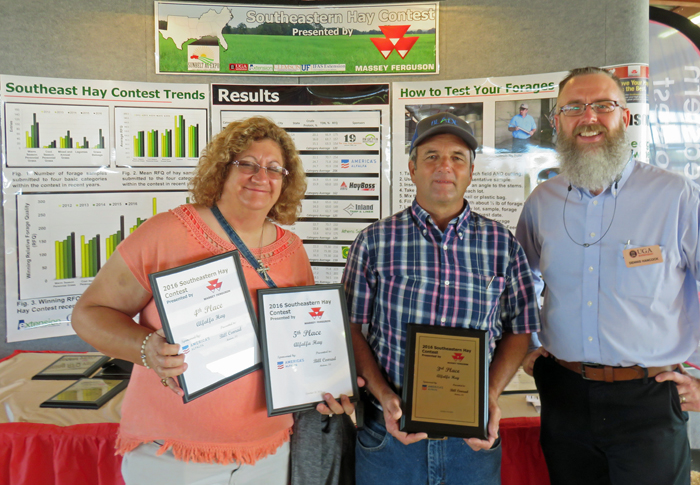 Bill and Donna Conrad, Bascom were recognized for their 3rd place alfalfa hay entry in the 2016 SE Hay Contest. Photo credit: Doug Mayo