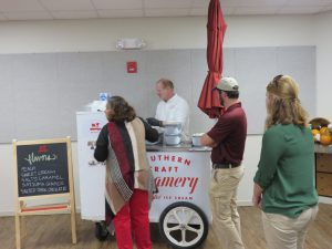 Participants lining up for Southern Craft Creamery ice cream at the Panhandle Fruit & Vegetable Conference. Photo Credit: Doug Mayo, UF/IFAS Extension.